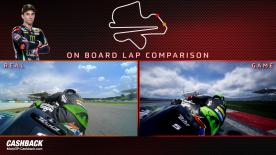Watch a side-by-side comparison between Johann Zarco in real life and on MotoGP18
