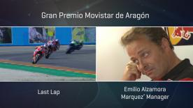 In that epic last lap battle between Marquez and Dovizioso, Emilio Alzamora struggled to hide his emotions in the Repsol Honda box