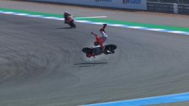 The Ducati rider lost control of his Desmosedici at Turn 3 of the Chang International Circuit