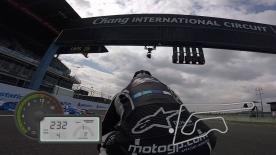 Jump on board to experience all of the excitement of riding a lap around the Thai circuit, shot on the iconic action cameras