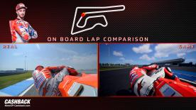 Watch a side-by-side comparison between Andrea Dovizioso in real life and on MotoGP18