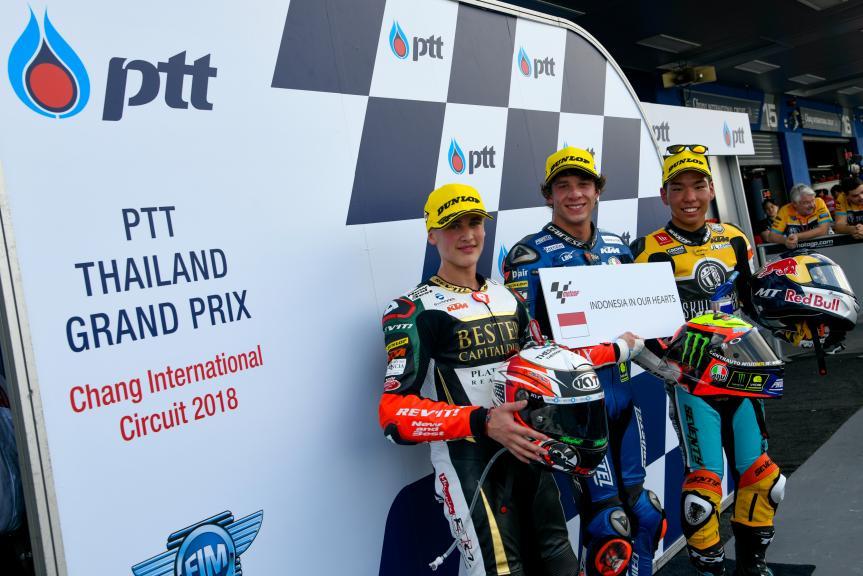 Marco Bezzecchi, Jaume Masia, Kazuki Masaki, PTT Thailand Grand Prix