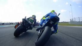 MotoGP™マシンに搭載したオンボードカメラが捉えた第15戦タイGP決勝レースのスタートから1ラップ目通過までのアクションを再現。