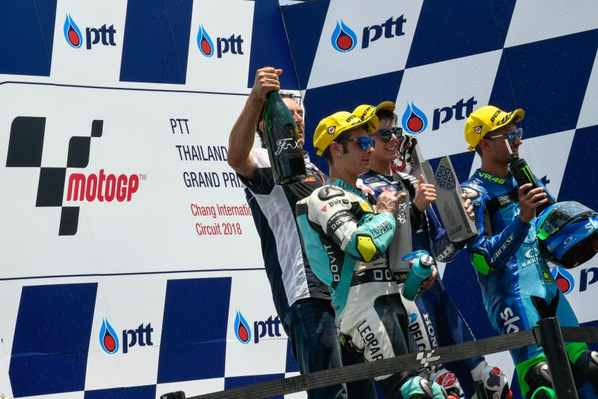 Fabio Di Giannantonio, Lorenzo Dalla Porta, Dennis Foggia, PTT Thailand Grand Prix