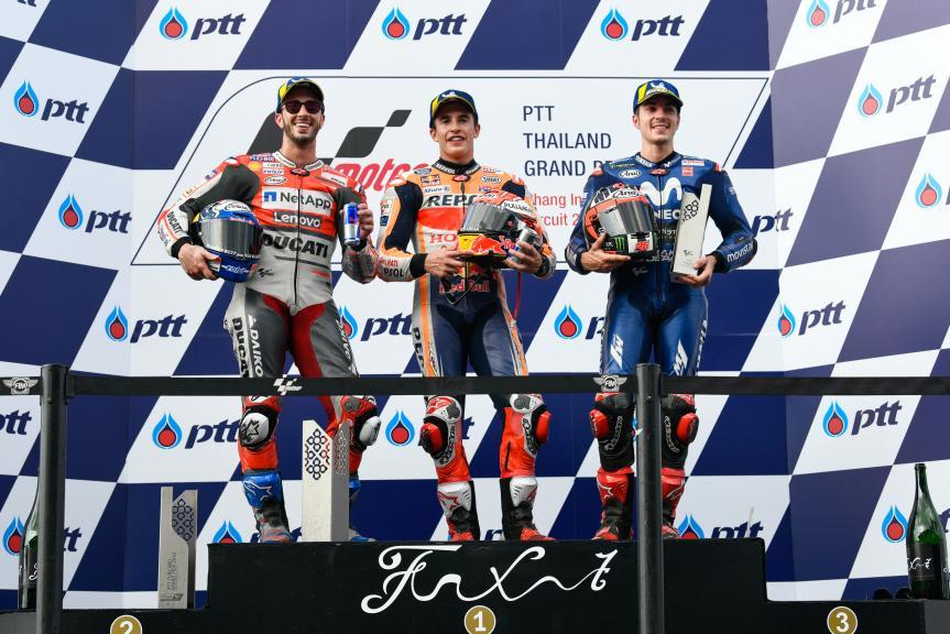 Marc Marquez, Andrea Dovizioso, Maverick Viñales, PTT Thailand Grand Prix