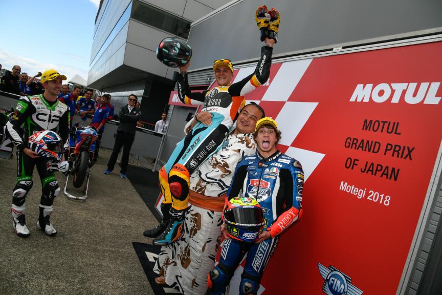 Gabriel Rodrigo, John Mcphee, Marco Bezzecchi, Motul Grand Prix of Japan