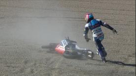 Moments after a save when Martin and Bezzecchi touched, the Moto3™ Championship leader made a grave error, crashing out of the Japanese GP