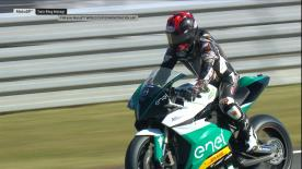 The FIM Enel MotoE? World Cup will start in 2019. See how the bike handles at the Twin Ring Motegi