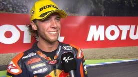 The Red Bull KTM Ajo rider is belated to take his first ever podium, after leading for some time in the Japanese GP