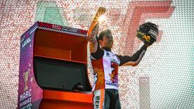 Steve Day, Matt Birt and Simon Crafar join the 2018 Champion, Marc Marquez, outside the Honda box celebrations at Motegi to review round 16