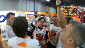 Relieve all the emotions from the Repsol Honda team, including previously unseen footage, from when Marquez claimed the crown at Motegi