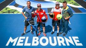 Dovizioso and Miller headed for Rod Laver Arena for the pre-event – meeting up with Lleyton Hewitt and star coach François Vogelsberger