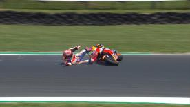 The Repsol Honda rider was pushing the pace when he crashed at Turn 10. Watch it now for free!