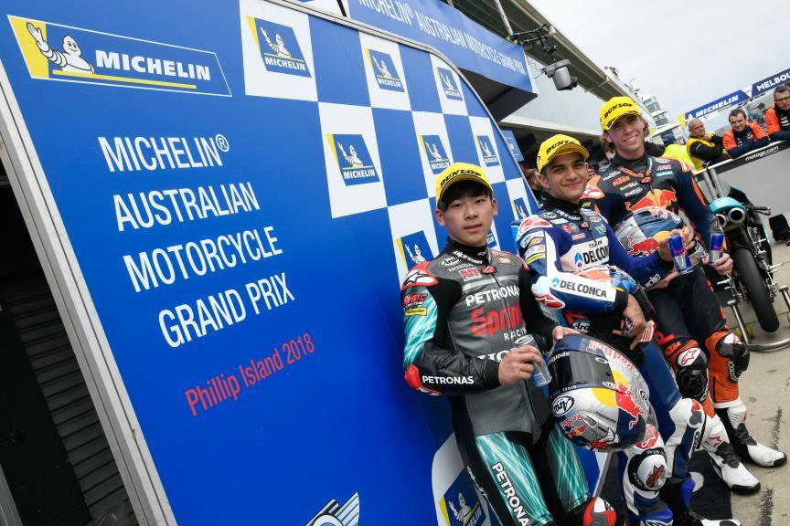 Jorge Martin, Darryn Binder, Ayumu Sasaki, Michelin® Australian Motorcycle Grand Prix