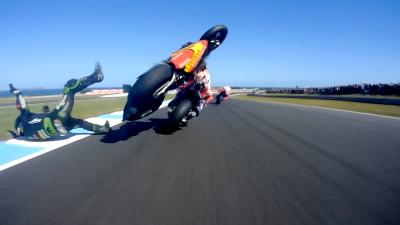 Zarco crashes after contact with Marquez at over 185mph!