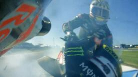 What happened in the 300km/h crash that caused both the Repsol Honda and Tech 3 riders to be ruled out of the race?