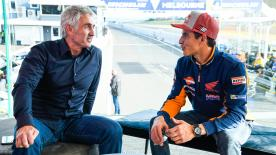 Past met present when the 2018 MotoGP? World Champion, Marc Marquez, had a sit down with five-time 500cc Champion, Mick Doohan