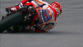 El piloto del Repsol Honda se hizo con la tercera plaza del día, pero salvó la caída hasta en cuatro ocasiones