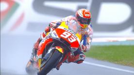 The Repsol Honda rider tops the timesheet with the Ducatis in hot pursuit, Miller second and Petrucci third in the rain