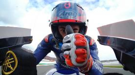 The (still) #25 powered through Q1 to take his first pole since Aragon 2017 in Q2, ahead of Rins and Dovizioso in Valencia