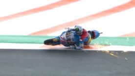 The Spanish rider was leading the Valencian GP, but a tiny error, in the wet conditions, caused him to crash at T14 with 10 laps to go