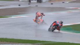 The 2018 World Champion had massive moment in the wet at Valencia, holding his shoulder again