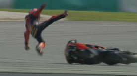 The KTM rider had a big fall early on in the second day of testing at the Sepang International Circuit