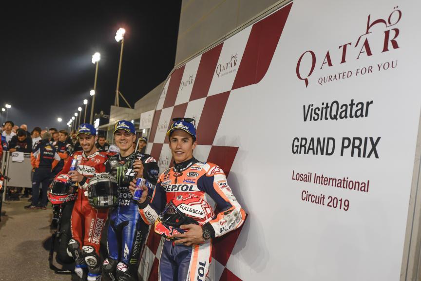 Maverick Vinales, Andrea Dovizioso, Marc Marquez, VisitQatar Grand Prix