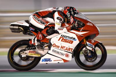 Celebrating the Japanese Moto3™ victory in Qatar