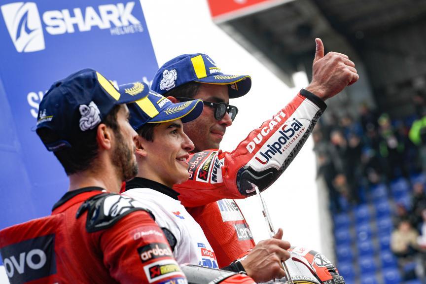 Andrea Dovizioso, Danilo Petrucci, Marc Marquez, SHARK Helmets Grand Prix de France