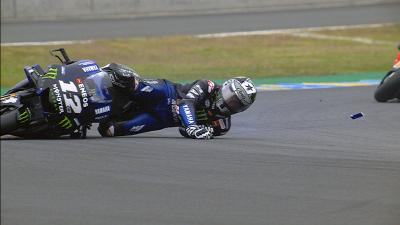 Viñales cade nel Warm Up in Francia