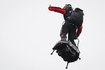 Join Franky Zapata on his Flyboard in the sky above Le Mans