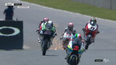 Sparks flying in #Moto3 FP2! This time, they appear to