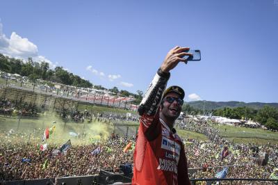 Danilo Petrucci addresses his adoring fans at Mugello