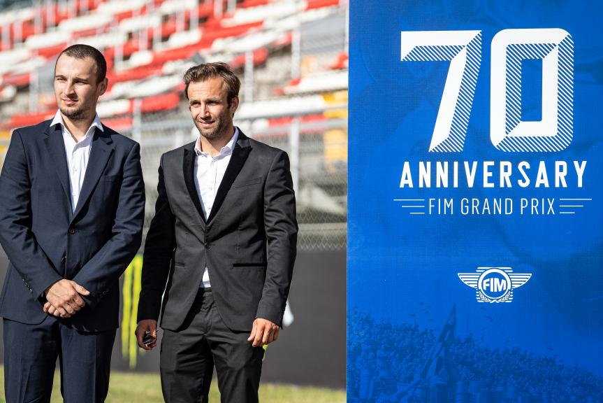 Johann Zarco, Karel Abraham, MotoGP™ suit up for 70 years celebration