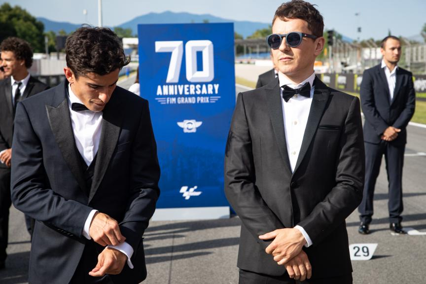 Marc Marquez, Jorge Lorenzo, MotoGP™ suit up for 70 years celebration