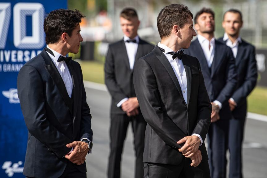 Marc Marquez, Jorge Lorenzo, MotoGP™ suit up for 70 years celebration