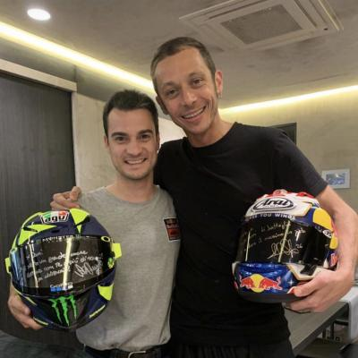 RESPECT - Former rivals @26_DaniPedrosa and @ValeYellow46 exchange their helmets