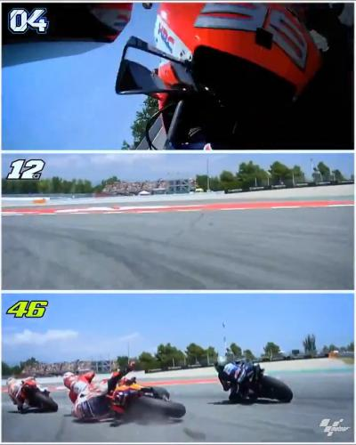Compare and contrast the #CatalanGP crash from the riders' different