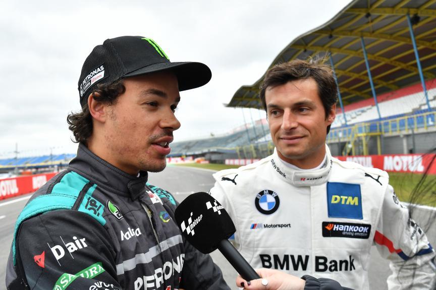 MotoGP™ Meets DTM: Franco Morbidelli in a DTM BMW alongside DTM driver Bruno Spengler