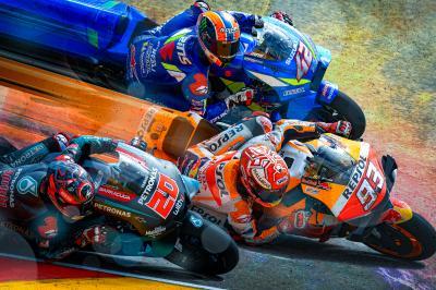 Márquez asume el control frente a Rins y Quartararo