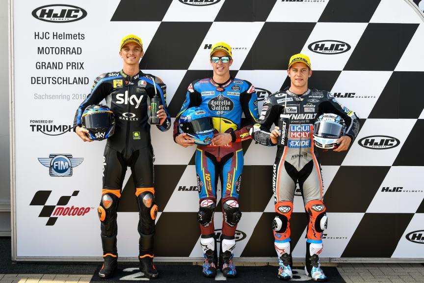 Alex Marquez, Luca Marini, Marcel Schrotter, HJC Helmets Motorrad Grand Prix Deutschland