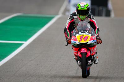 Arbolino fastest in damp Moto3™ Warm Up