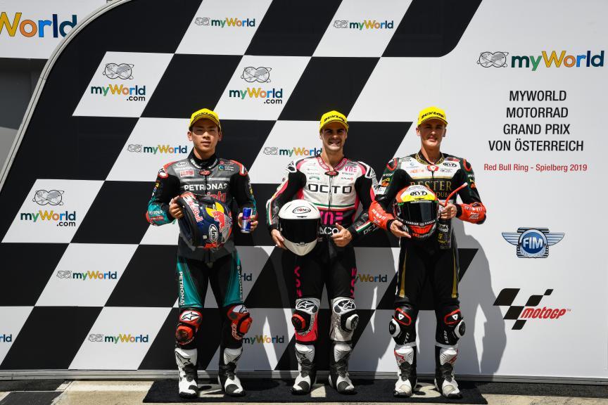 Romano Fenati, Ayumu Sasaki, Jaume Masia, myWorld Motorrad Grand Prix von Österreich
