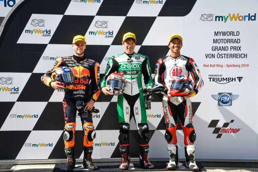 Tetsuta Nagashima, Brad Binder, Somkiat Chantra, myWorld Motorrad Grand Prix von Österreich