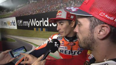 Dovizioso and Marquez react to that epic last lap battle