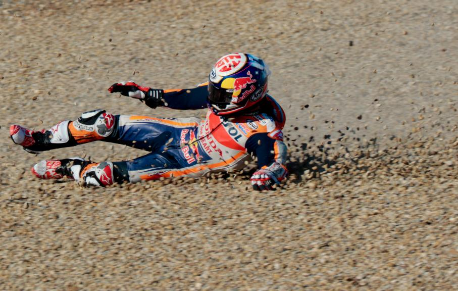 Dani Pedrosa crash