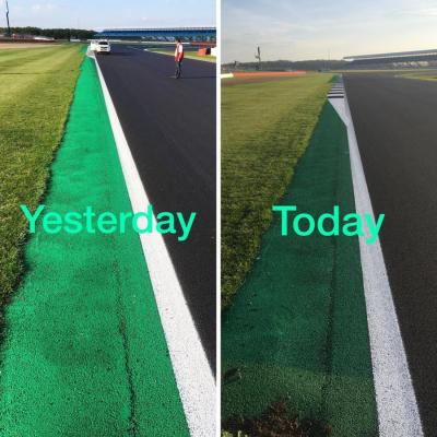 The green area at Turn 6 has become white to