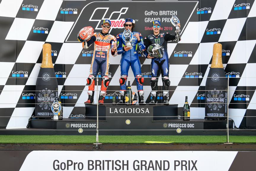 Alex Rins, Marc Marquez, Maverick Viñales, GoPro British Grand Prix