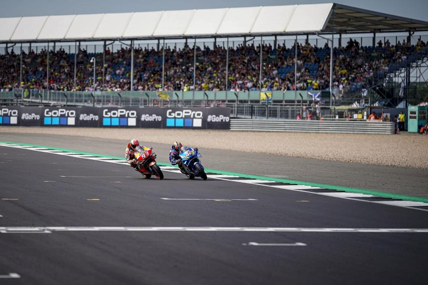 Alex Rins, Team Suzuki Ecstar. Marc Marquez, Repsol Honda - BritishGP